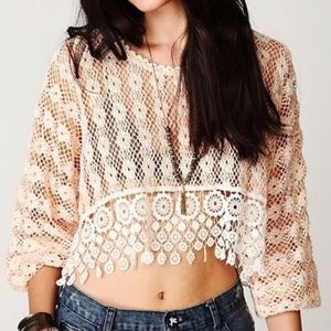 Free People Hairloom Rashele Crochet Top Ivory NWT